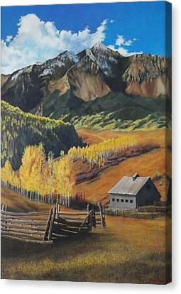 Canvas Print featuring the painting  I Will Lift Up My Eyes To The Hills Autumn Nostalgia  Wilson Peak Colorado by Anastasia Savage Ealy