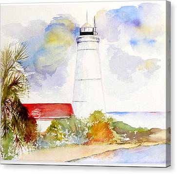 Canvas Print featuring the painting  Impression St Marks Lighthouse by Sibby S