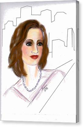 Canvas Print featuring the drawing  In A New York Minute by Desline Vitto