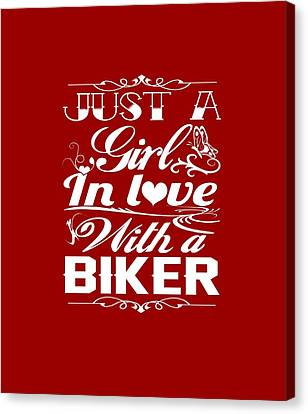 In Love With A Biker Canvas Print by Sophia