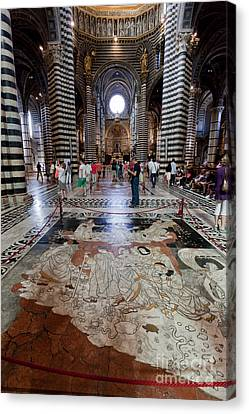 Medieval Temple Canvas Print -  Interior Of Siena Cathedral, Italian Duomo Di Siena With Mosaic Floor by Michal Bednarek