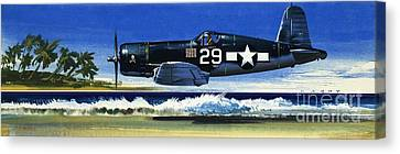 Into The Blue American War Planes Canvas Print