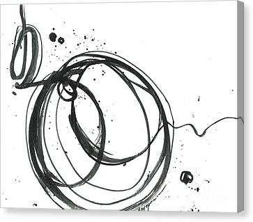 Inward - Revolving Life Collection - Modern Abstract Black Ink Artwork Canvas Print