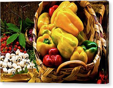 Canvas Print featuring the photograph  Italian Peppers  by Harry Spitz