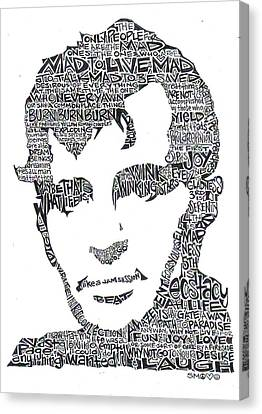 Burned Canvas Print -  Jack Kerouac Black And White Word Portrait by Kato Smock