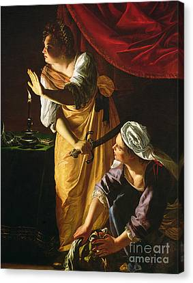 Woman Head Canvas Print -  Judith And Maidservant With The Head Of Holofernes by Artemisia Gentileschi