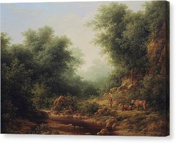 Landscape With Cows Canvas Print by Arthur Braginsky
