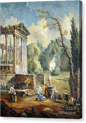 Lanscape With Temple Ruin Canvas Print by Hubert Robert