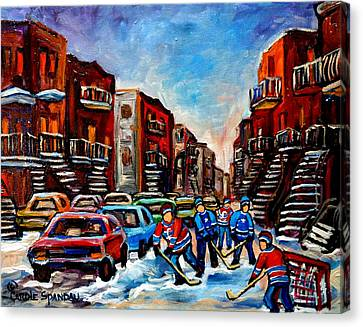 Late Afternoon Street Hockey Canvas Print by Carole Spandau