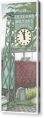 Leyland Motors Clock Kendal Cumbria Canvas Print by Sandra Moore
