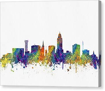Lincoln Nebraska Skyline Color03 Canvas Print by Aged Pixel