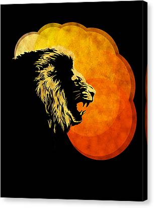 Lion Illustration Print Silhouette Print Night Predator Canvas Print by Sassan Filsoof