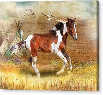 Canvas Print featuring the digital art  Little Apache by Trudi Simmonds