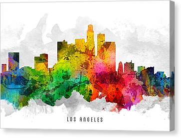 Los Angeles California Cityscape 12 Canvas Print by Aged Pixel