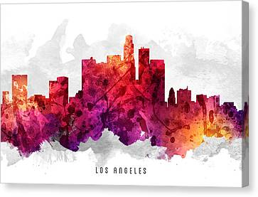 Los Angeles California Cityscape 14 Canvas Print by Aged Pixel