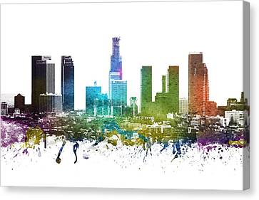 Los Angeles Cityscape 01 Canvas Print by Aged Pixel