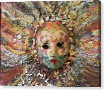 Mardi Gras Mask Dedicated To Linda Lane-bloise  Canvas Print by Anne-Elizabeth Whiteway