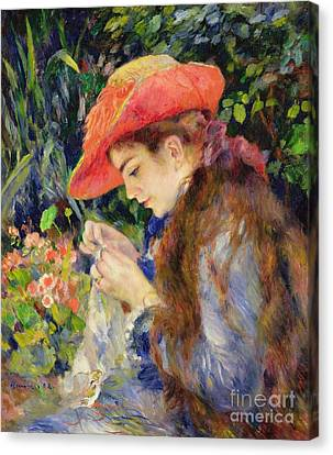 Long Canvas Print -  Marie Therese Durand Ruel Sewing by Pierre Auguste Renoir