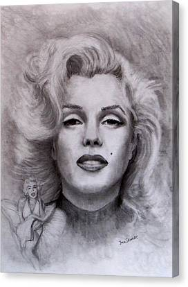 Canvas Print featuring the drawing  Marilyn by Jack Skinner