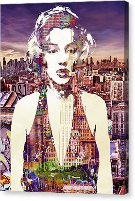 Marilyn Monroe Vulnerable In New York City 2 Canvas Print by Tony Rubino
