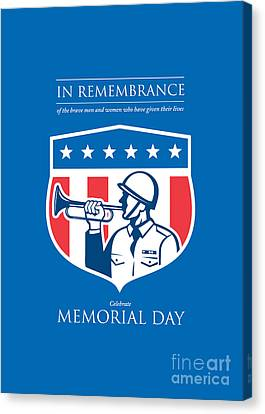 Memorial Day Greeting Card Soldier Blowing Bugle Flag Shield Canvas Print