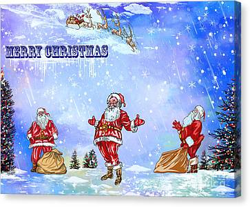 Canvas Print featuring the painting  Merry Christmas To My Friends In The Faa by Andrzej Szczerski
