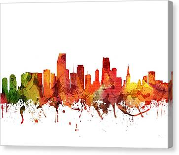 Miami Cityscape 04 Canvas Print by Aged Pixel