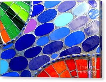 Mosaic Abstract Of The Blue Green Red Orange Stones Canvas Print by Michael Hoard