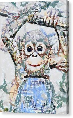 Monkey Rainbow Splattered Fragmented Blue Canvas Print by Catherine Lott