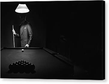 Mystery Pool Player Behind Rack Of Canvas Print