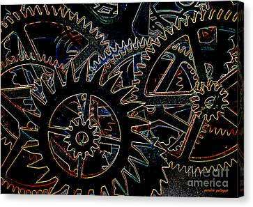 Neon Cogs And Gears  Canvas Print by Sandra Gallegos