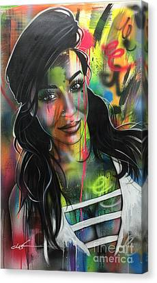 ' Neon Girl ' Canvas Print by Christian Chapman Art