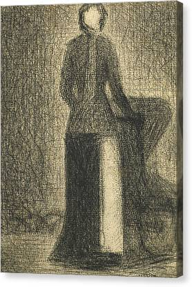 Seurat Canvas Print -  Nurse With A Childs Carriage  by Georges-Pierre Seurat