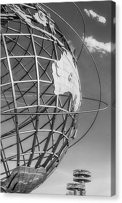 Nyc Unisphere And Observatory Pavilions Bw Canvas Print by Susan Candelario