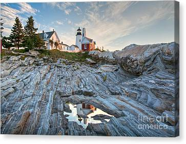New England Lighthouse Canvas Print -  Pemaquid Point Reflection by Susan Cole Kelly