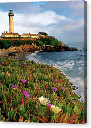 Pigeon Point Lighthouse With Spring Wildflowers Canvas Print by George Oze