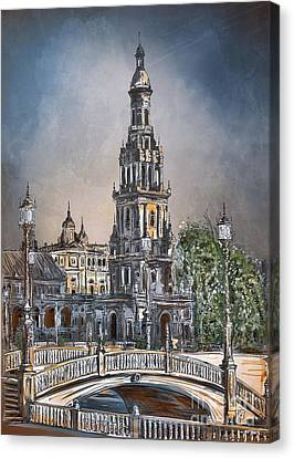 Canvas Print featuring the painting  Plaza De Espana In Seville by Andrzej Szczerski
