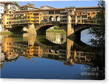 Ponte Vecchio Reflection Canvas Print by Nicola Fiscarelli