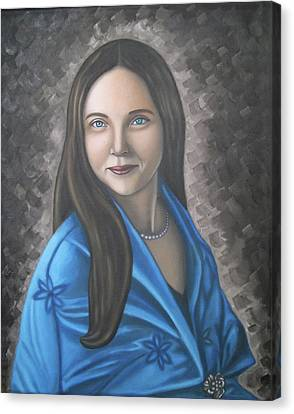 Portrait Of A Lady Oil On Canvas Painting  Canvas Print