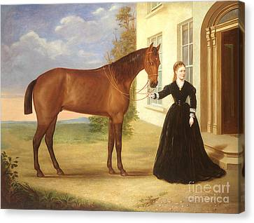 Portrait Of A Lady With Her Horse Canvas Print by English School