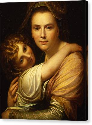 Portrait Of The Artists Wife And Daughter  Canvas Print by Richard Cosway