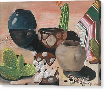 Pottery In The Desert Canvas Print