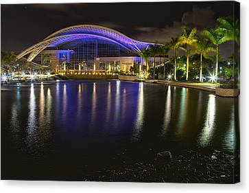 Puerto Rico Convention Center At Night Canvas Print by George Oze