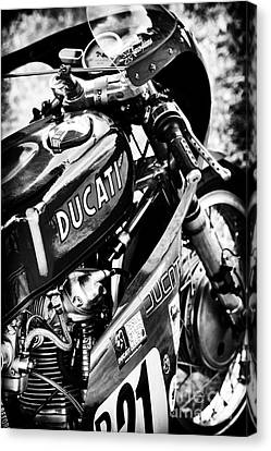 Racing Ducati Monochrome Canvas Print by Tim Gainey