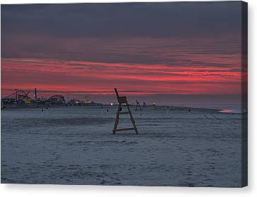 Lif Canvas Print -  Red Sky In The Morning - Wildwood New Jersey by Bill Cannon