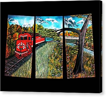 Red Train Passage - Elegance With Oil Canvas Print by Claude Beaulac