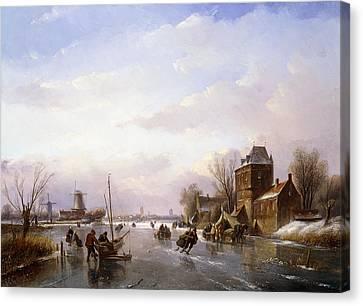 Skaters In A Frozen Landscape Canvas Print by Jan Jacob Spohler