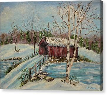 Snow Covered Bridge Canvas Print