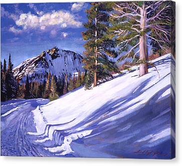 Snowy Mountain Road Canvas Print by David Lloyd Glover