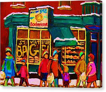 St. Viateur Bagel Family Bakery Canvas Print by Carole Spandau